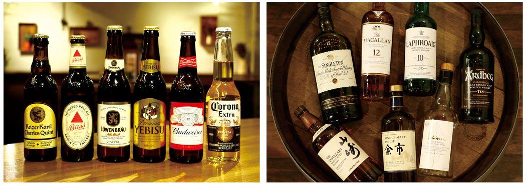 世界のボトルビールと厳選ウイスキーが1チケット(¥300)で楽しめます